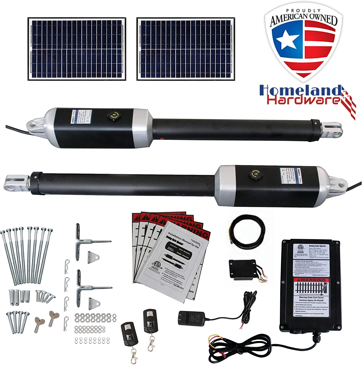 (Sale) 16 Ft. Dual Solar Powered Automatic Swing Gate Openers (US Based) 16 Feet or 1200+ Lbs. Combined gate Capacity ETL Listed IP56 Waterproof Dual (2 Remotes, 2-10W panels) by Homeland Hardware