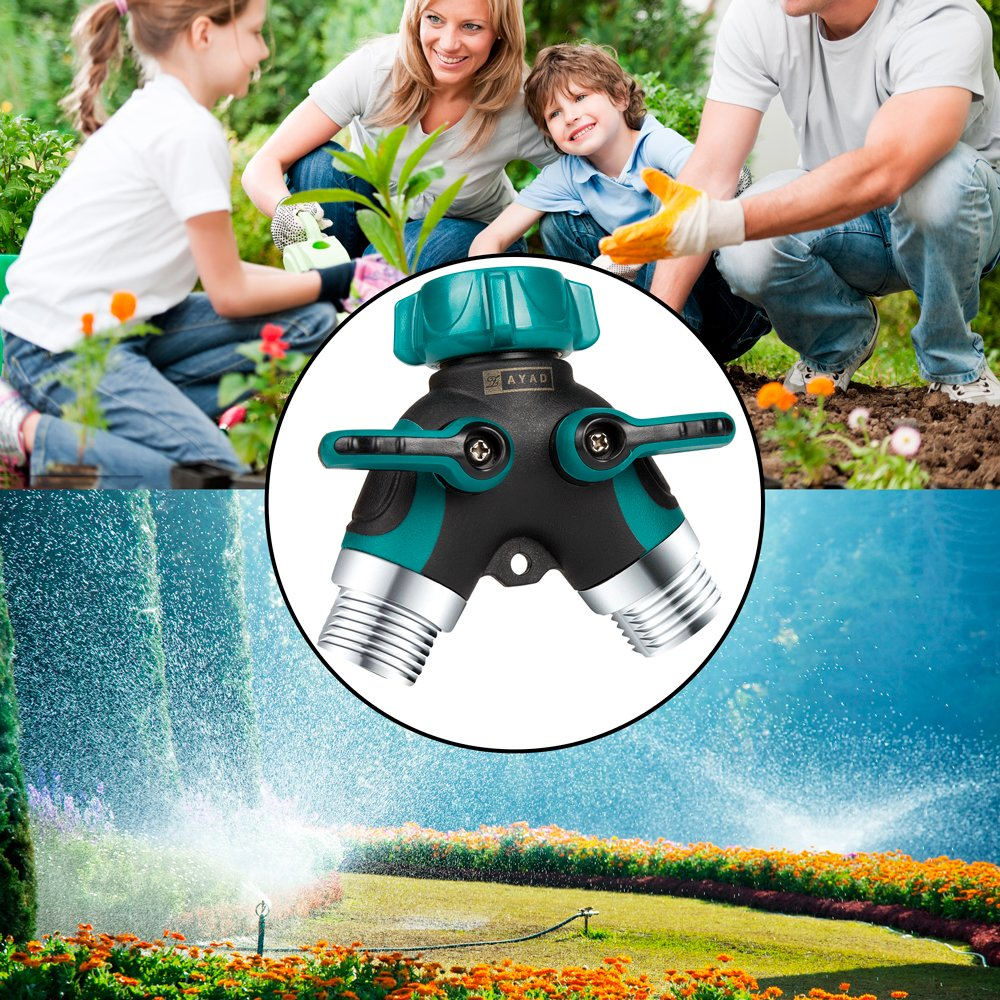 ZAYAD Y Hose Splitter 2 Way, Body Metal Garden Hose Connector with Comfortable Rubberized Grip with Outdoor Faucet, Sprinkler & Drip Irrigation Systems,Bonus Included: 6 Washers (2-Packs) by ZAYAD