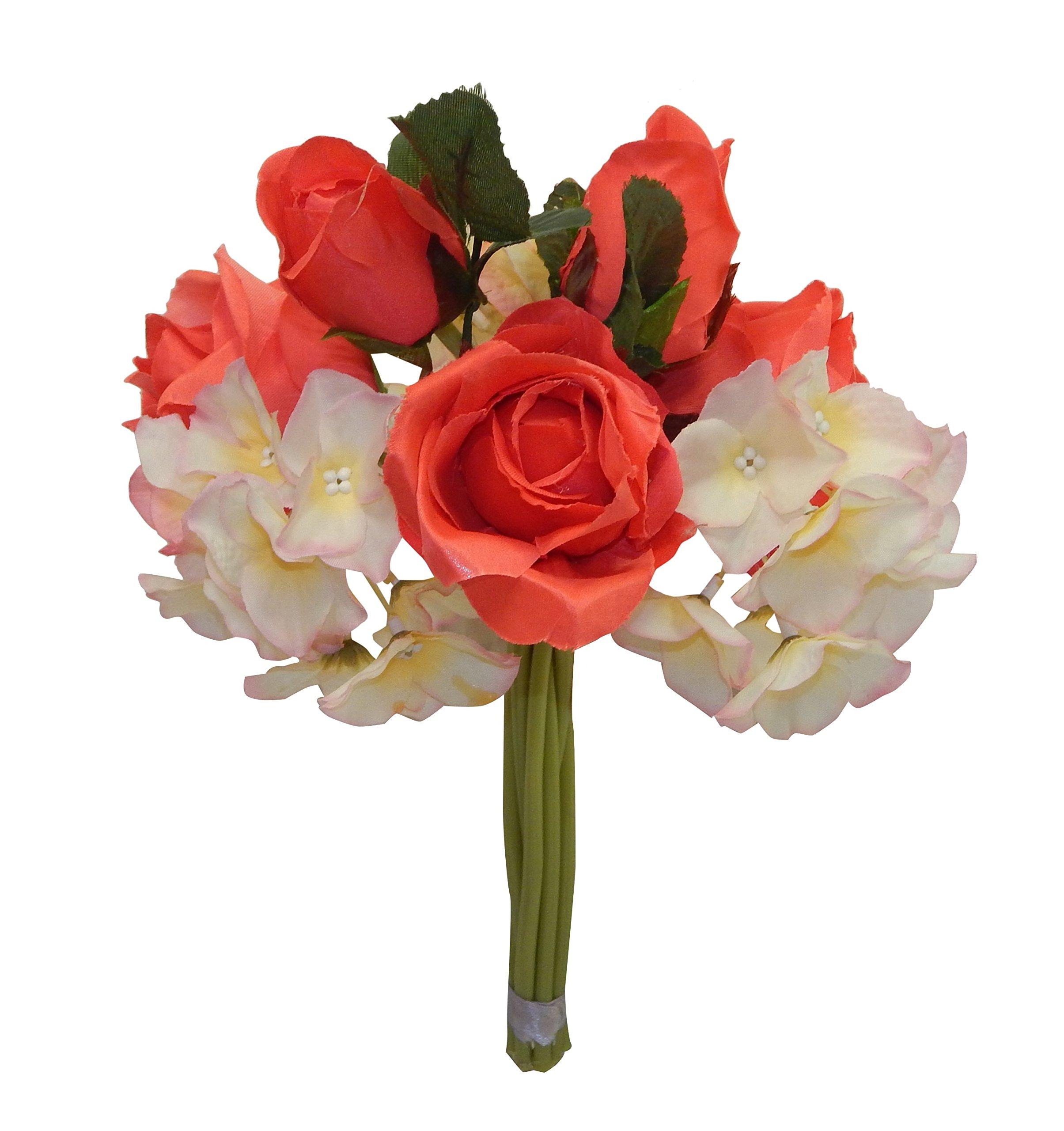 12-White-Satin-Rose-Bud-Hydrangea-Bouquet-Artificial-Silk-Flowers-Centerpieces-Home-Decor