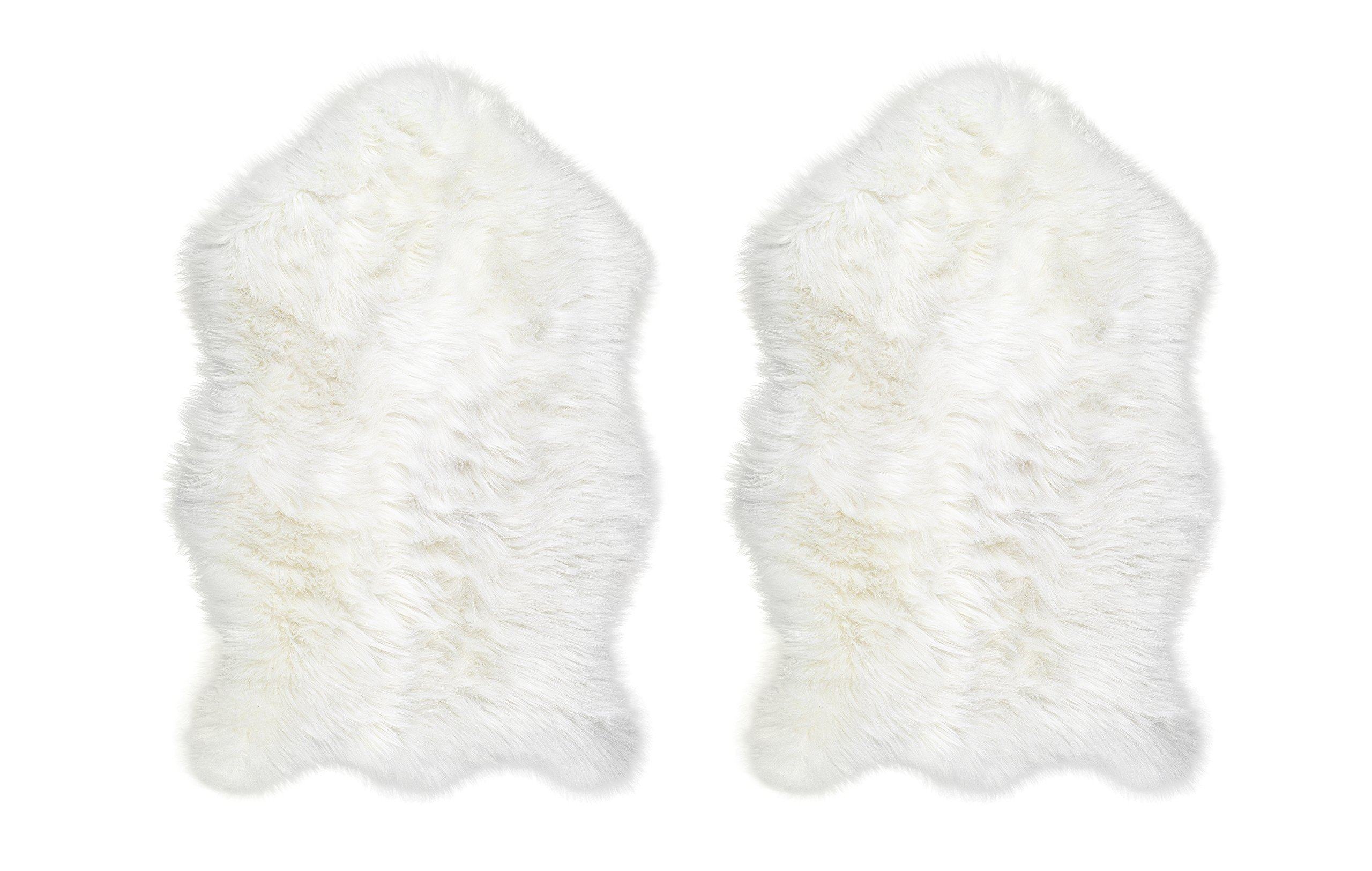 Chesserfeld Luxury Faux Fur Sheepskin Rug, Ivory, 2ft x 3ft (Set of 2) with Thick Pile | Makes a Soft, Stylish Home Décor Accent for a Kid's Room, Bedroom, Nursery, Living Room or Bath