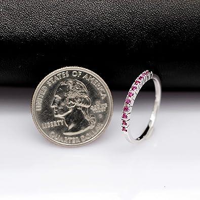 Uloveido Mujer Platino//Chapado en Oro Rosa 2 mm Claro Cubic Zirconia Anillo de Banda de eternidad apilable J029