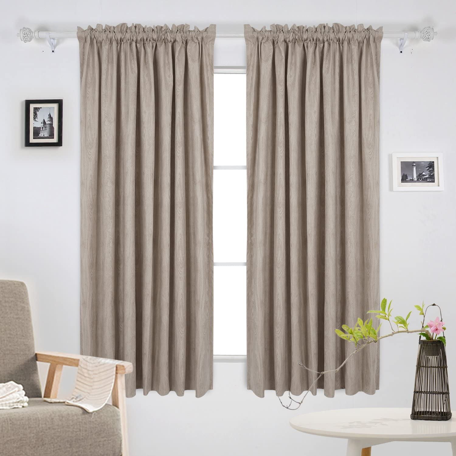 Deconovo Room Darkening Rod Pocket Wood Grain Textured Faux Suede Embossed Curtains for Bedroom, 52x63 Inch, Cappuccino