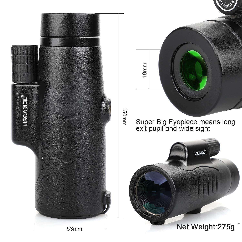 USCAMEL 8X42 Telescopio Monocular Observaci/ÓN de Aves Viajes y Acampadas Compacto y de Bolsillo para Adultos y Ni/ños con Adaptador para Tel/ÉFono Negro