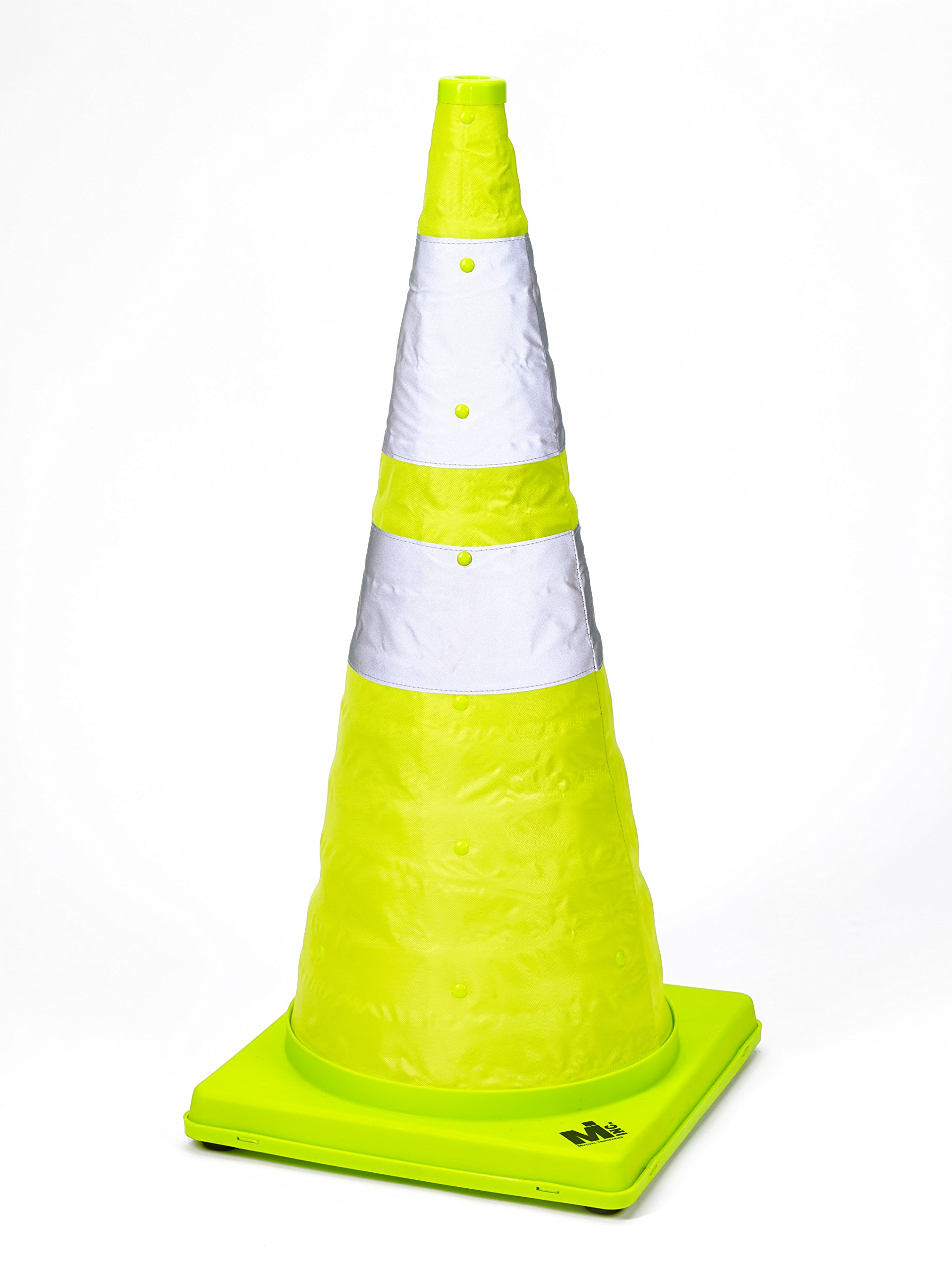Mutual Industries 17712-1-28 Collapsible Reflective Traffic Cone with Inside Light, 28'' x 12'' x 12'', Lime