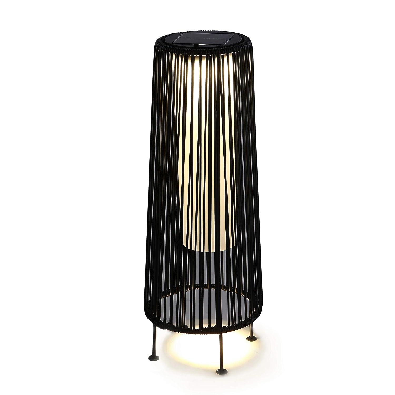 Grand Patio Outdoor Solar Floor Lamp, Weather-Resistant Rope Floor Lamp, Black