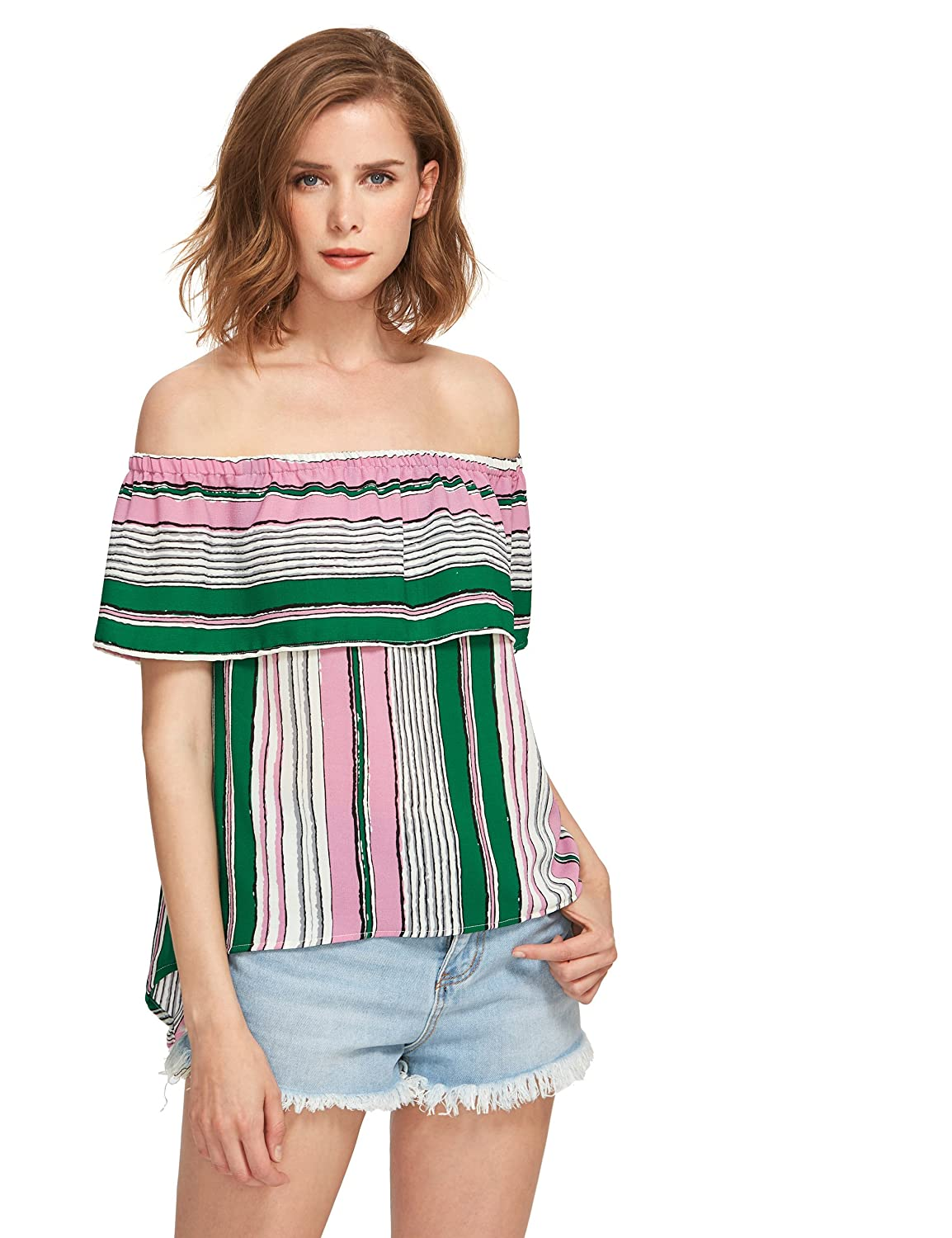 d09367347f Amazon.com: ROMWE Women's Blouse off the shoulder Striped Ruffle summer  casual tunic tops Multicolor XS: Clothing