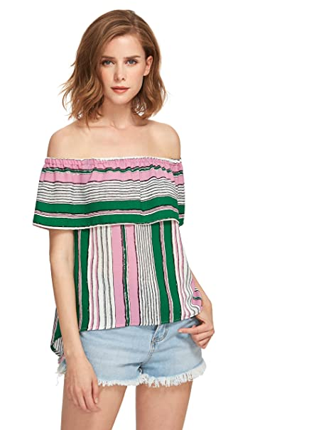 11e81fcb348 ROMWE Women's Blouse off the shoulder Striped Ruffle summer casual tunic  tops Multicolor XS