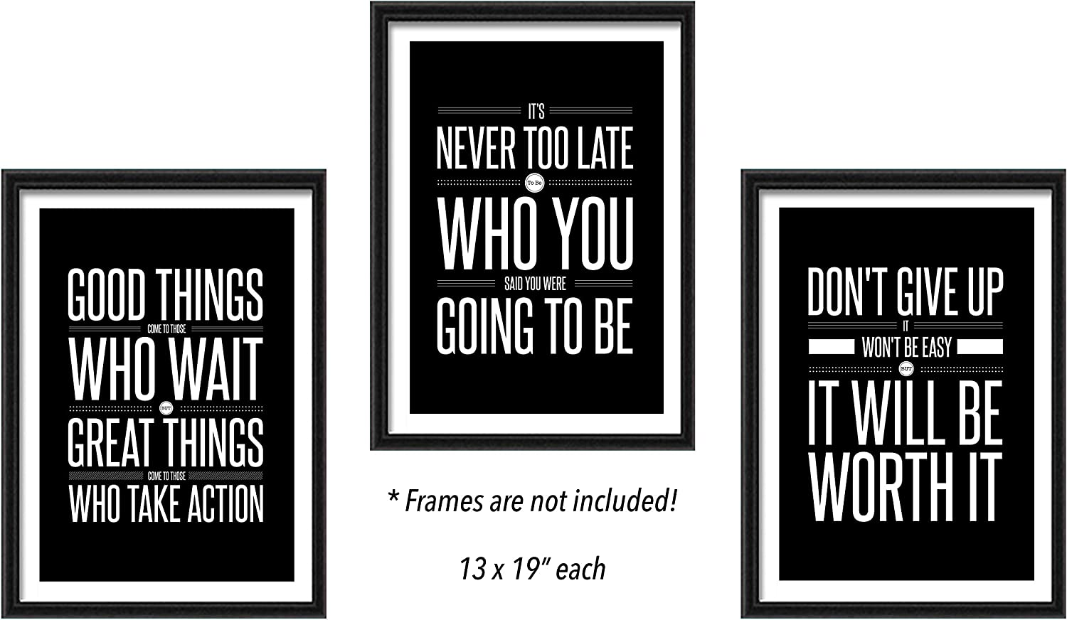 Don't Give Up (13x19) Motivational (3-Set) Inspirational Posters Sign Print Sayings Quote Wall Workout Sports Art Black & White Boy Girl Teen Fitness Wall Home Decor Office Classroom Dorm Gym Negro