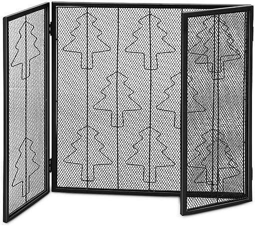 LAPHs - Puertas de Acero para Chimenea con diseño de árbol de Navidad, Plegables, 3 Paneles, Acero Negro, para Uso en chimeneas, Parrillas, Estufas de leña: Amazon.es: Hogar