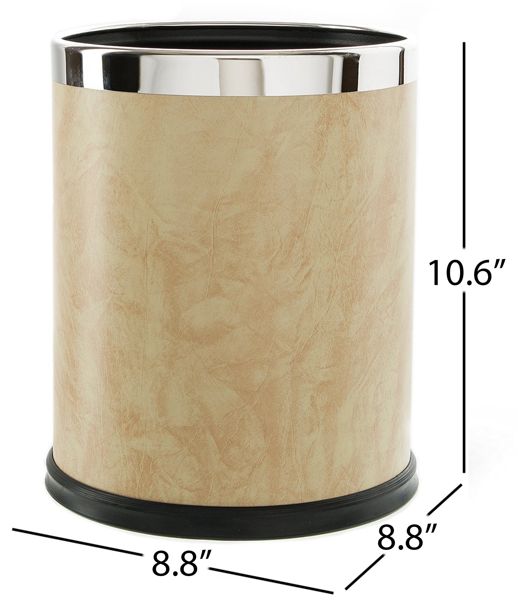 Brelso Super Quality Leatherette Trash Can, Office Garbage Can, Round Shape (Beige)