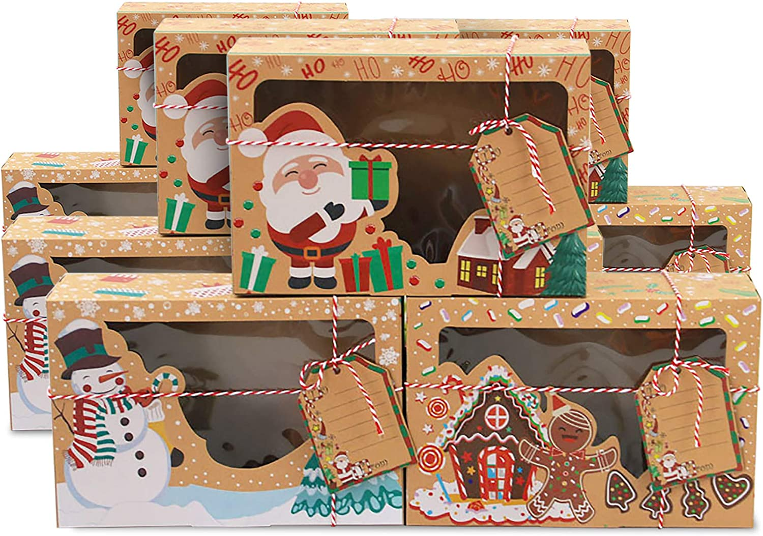 Happy Will 12 Large Christmas Cookie Boxes with Window,Christmas Treat Gift Boxes,Food Grade Kraft Bakery Cupcake Pie Packing Boxes for Gifts Giving Pastry Candy(12 Ribbons and DIY Gift Tags Include)