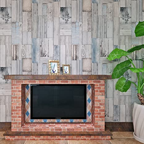 Hanmero D Rustic Vintage Planks Wood Effect Wallpaper In Grey Light Blue  M