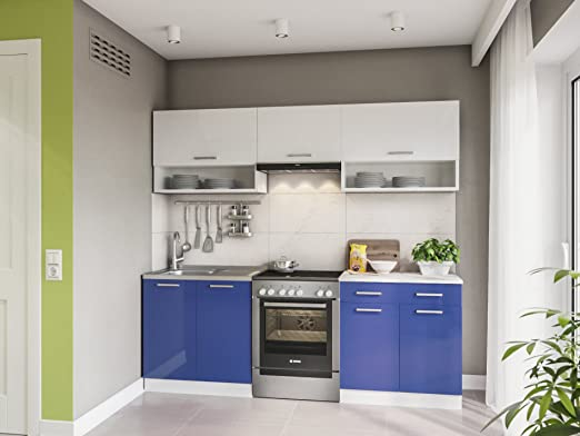 Eldorado de Muebles Cocina Lux 220 cm Azul Línea de Cocina Cocina Bloque Completo Cocina Instalación de Cocina: Amazon.es: Juguetes y juegos