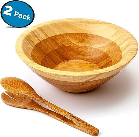 100/% bamb/ù LVKH Ciotola per Servire//Insalata in Legno con Pinze
