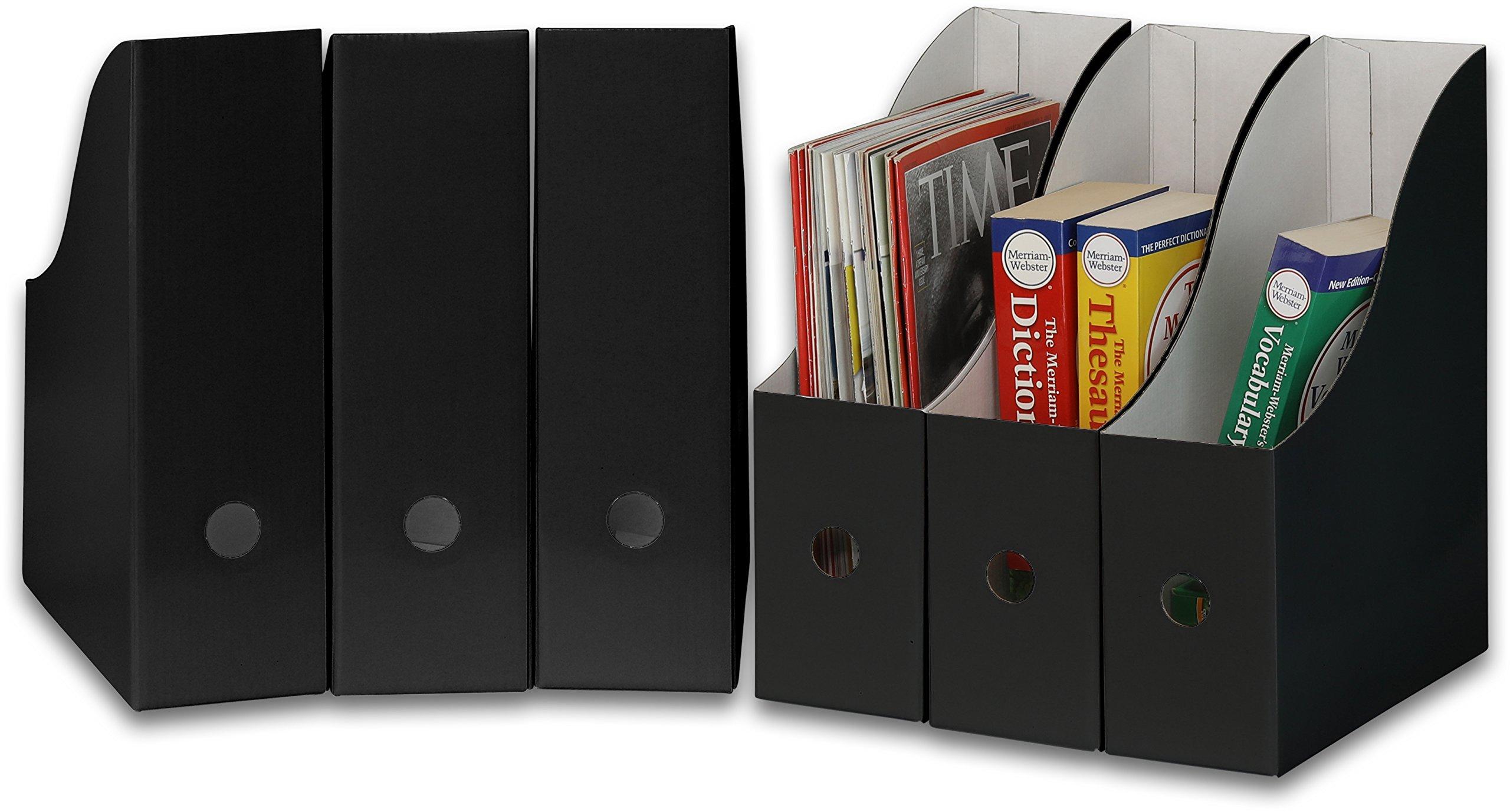 Simple Houseware Black Magazine File Holder Organizer Box (Pack of 6) by Simple Houseware