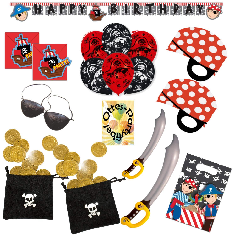 HHO Pirate's Trip Piratenausflug Partyset 75tlg. für 12 Piraten Einladung Einladung Einladung Tüten Luftballons Girlande Piratenmasken Augenklappen Schwert Münzbeutel 1da1f6