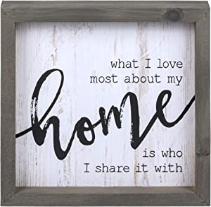 P. Graham Dunn Love Most About My Home White Wash 10.8 x 10.8 Inch Solid Pine Wood Farmhouse Frame Wall Plaque