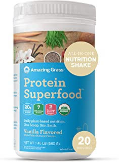 product image for Amazing Grass Protein Superfood: Vegan Protein Powder, All-in-One Nutrition Shake, Pure Vanilla, 20 Servings