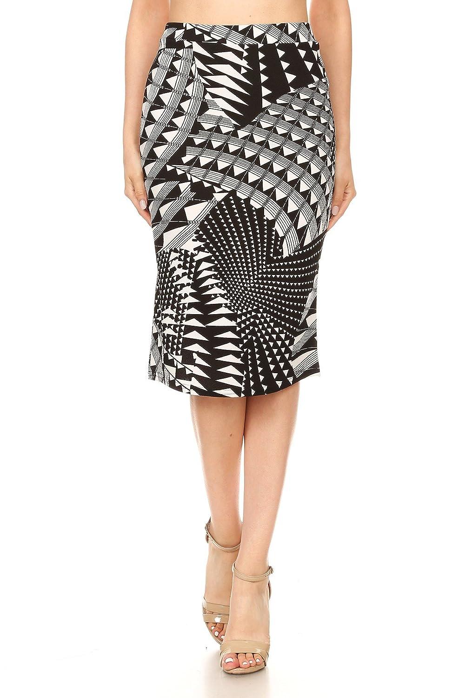BlackWhite Misha Fashion Women's Knee Length Pencil Skirt Office Wear  Made in USA