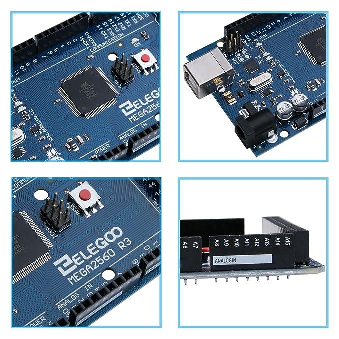 ELEGOO Tarjeta Mega 2560 Atmega2560 ATmega 16U2 + Cable USB ...