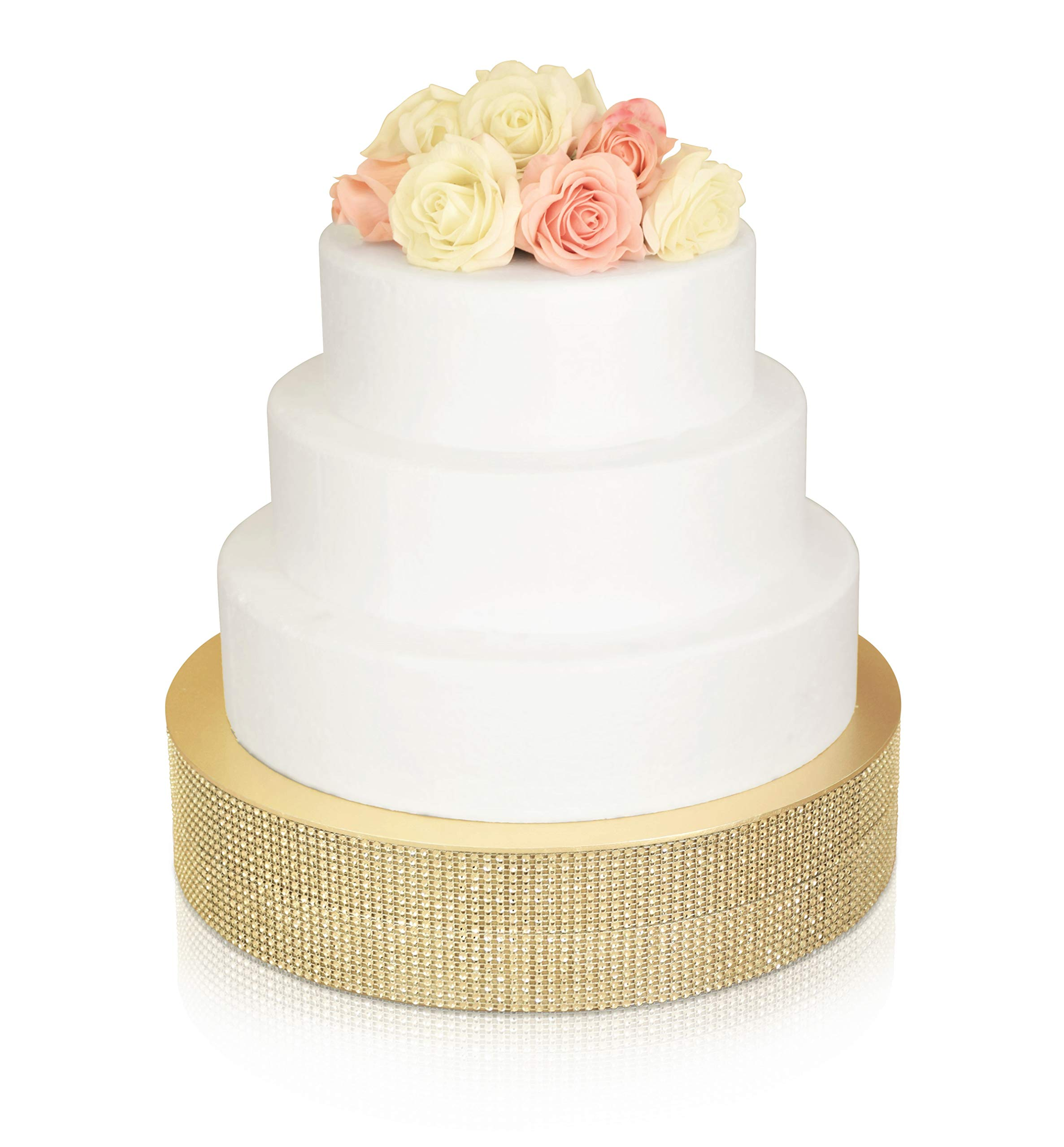 '' OCCASIONS'' Bling Wedding Cake Stand (Holds 150 lbs), Cupcake Base, Decorative Party Centerpiece (18'' Round, Soft Gold)