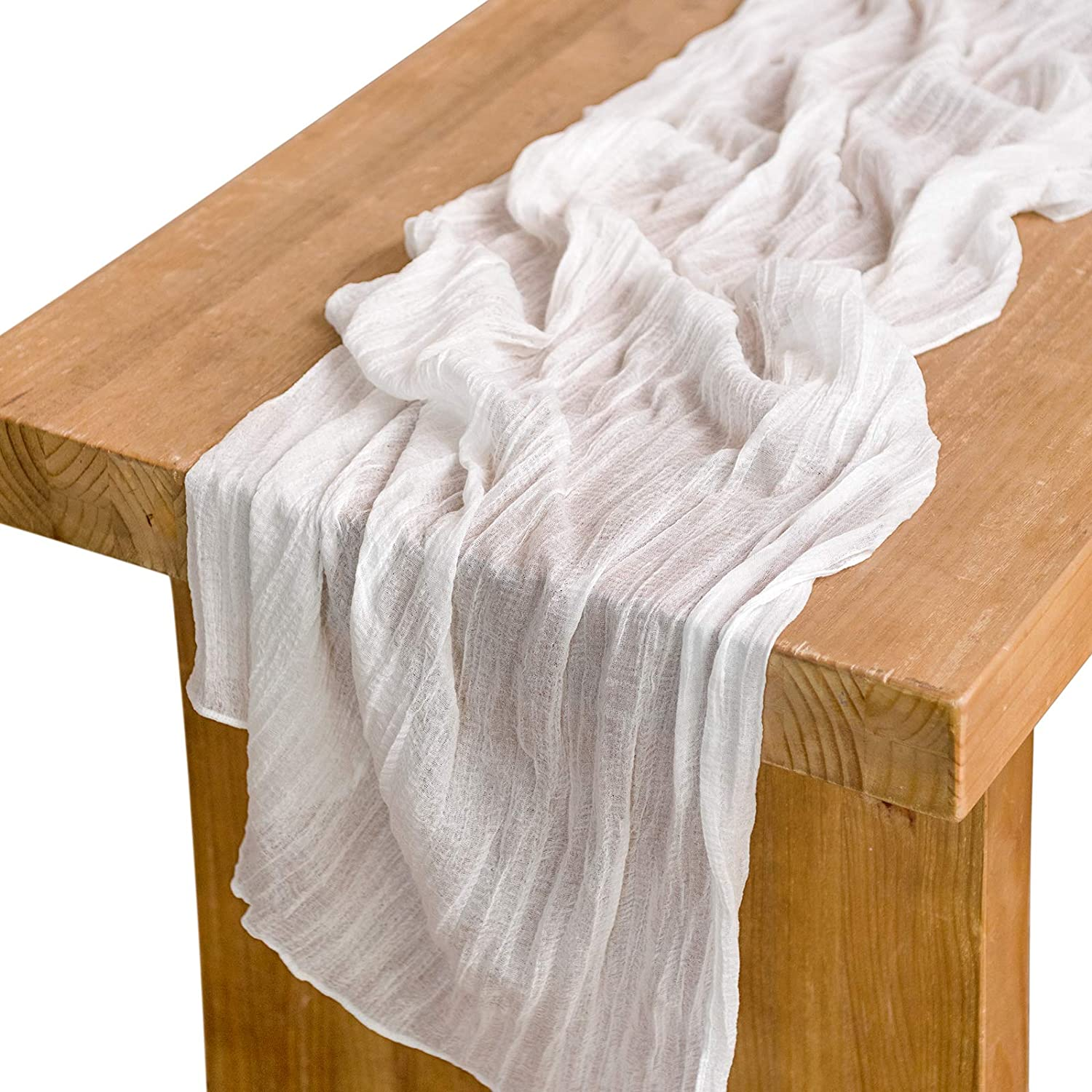 "Ling's moment 10ft x 35"" Wide White Gauze Semi-Sheer Table Runner Cheesecloth Tablecloth for Wedding Party Bridal Shower Table Centerpieces Decor"