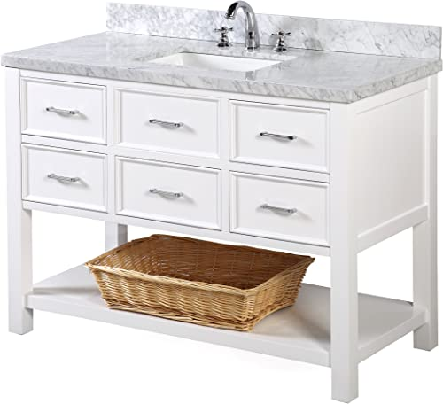 New Hampshire 48-inch Bathroom Vanity Carrara/White : Includes Authentic Italian Carrara Marble Countertop