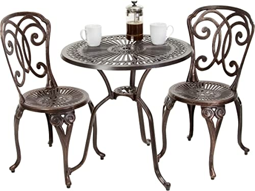 Christopher Knight Home 238798 Budapest Outdoor 3pcs Cast Aluminum Bistro Set, Copper