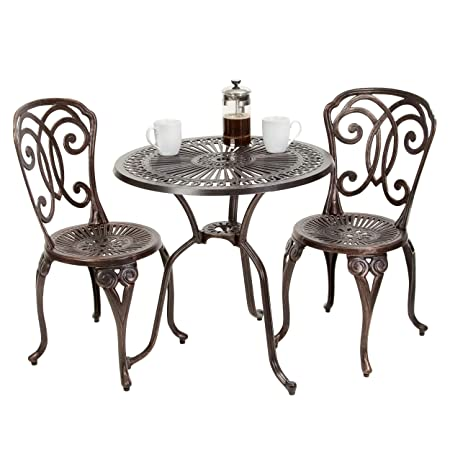Great Deal Furniture 238798 Budapest Outdoor 3pcs Cast Aluminum Bistro Set, Copper