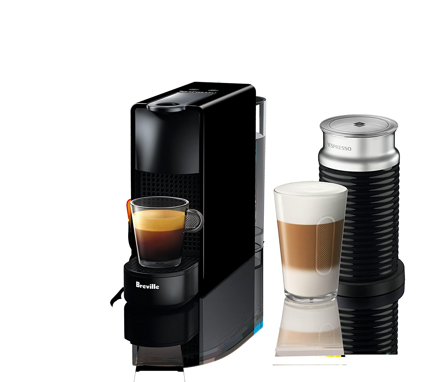 Nespresso Essenza Mini Original Espresso Machine Bundle with Aeroccino Milk Frother by Breville, Piano Black