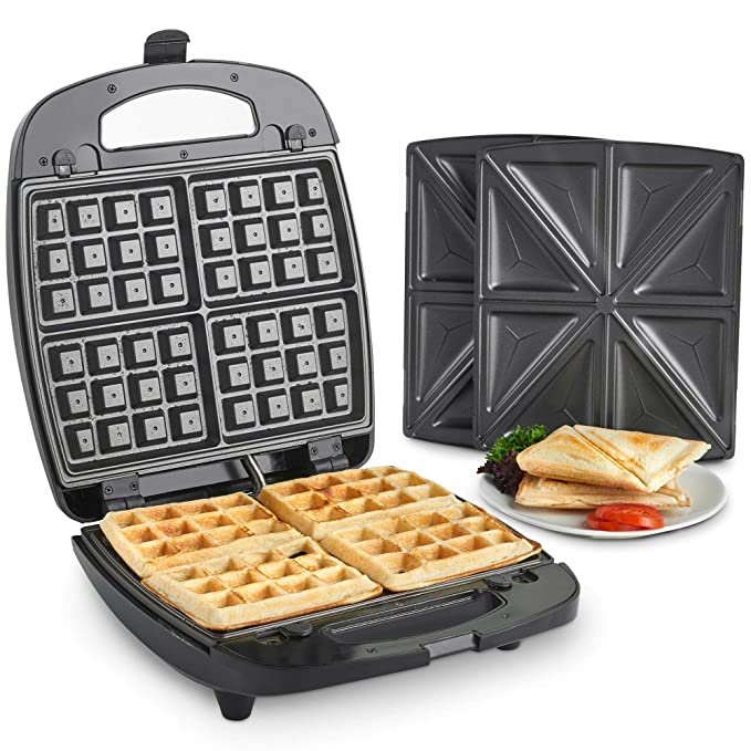 VonShef 2 in 1 Sandwich Toaster & Waffle Maker with Removable Non-Stick Plates - 920W Sandwich Makers at amazon