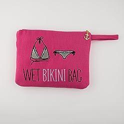 Damen Bestickter Waffel Wet Bikini Bag Wei/ß