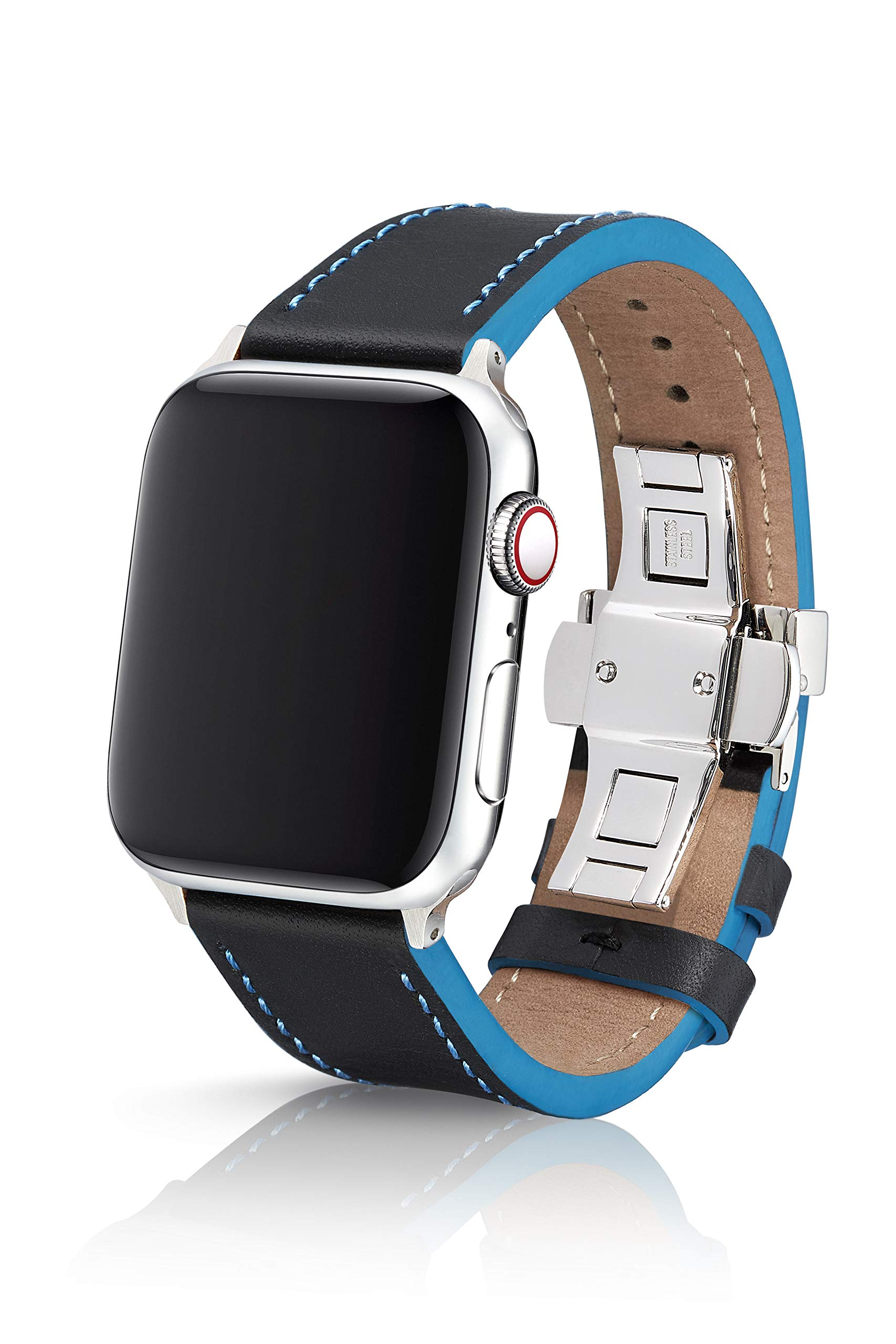 42/44mm JUUK Korza Azur Premium Watch Band Made for The Apple Watch, Made with Genuine Italian Leather with a Solid Stainless Steel deployant Buckle (Silver Components)
