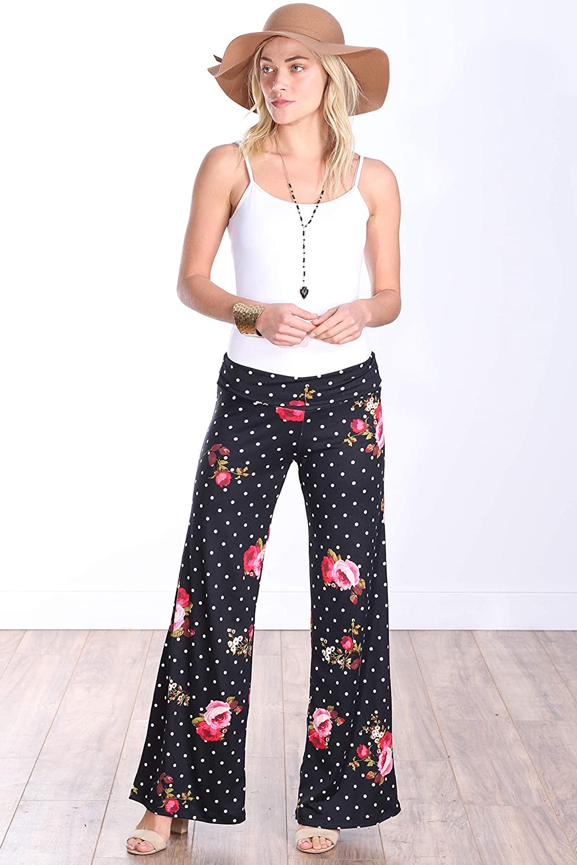 Popana Women/'s Casual Wide Leg Palazzo Lounge Pants Plus Size Made in USA