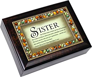 Cottage Garden The Perfect Sister is Kind Giving Amber Earth Tone Jewelry Music Box Plays Edelweiss