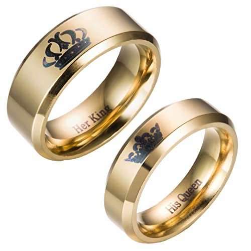 2a126277dac1c Kalapure 6mm 8mm 14K Gold Stainless Steel King Queen Rings Couples Ring for  Men Women Wedding Bands Beveled Edges Comfort Fit