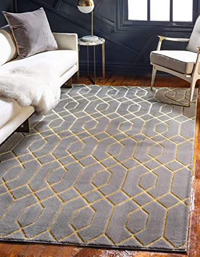 Unique Loom Marilyn Monroe Glam Collection Textured Geometric Trellis Area Rug_MMG003