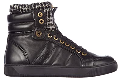 a52a26a06fb30 MONCLER Chaussures Baskets Sneakers Hautes Femme en Cuir Alice Noir ...