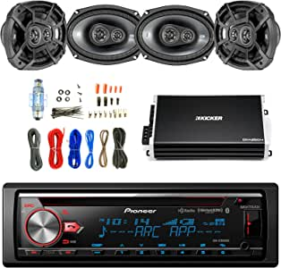 """Pioneer CD Bluetooth Receiver with Enhanced Audio Functions with Kicker 600W 6.9"""" CS Series 3-Way Speakers 2-Pairs, Kicker 4 Channel Power Amplifier & Enrock Audio Amplifier Wiring Installation Kit"""