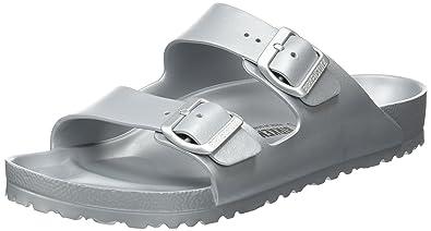 c12698090e38d Birkenstock Essentials Unisex Arizona EVA Sandals Metallic Silver 42 R EU  (US Men's 9-9.5)