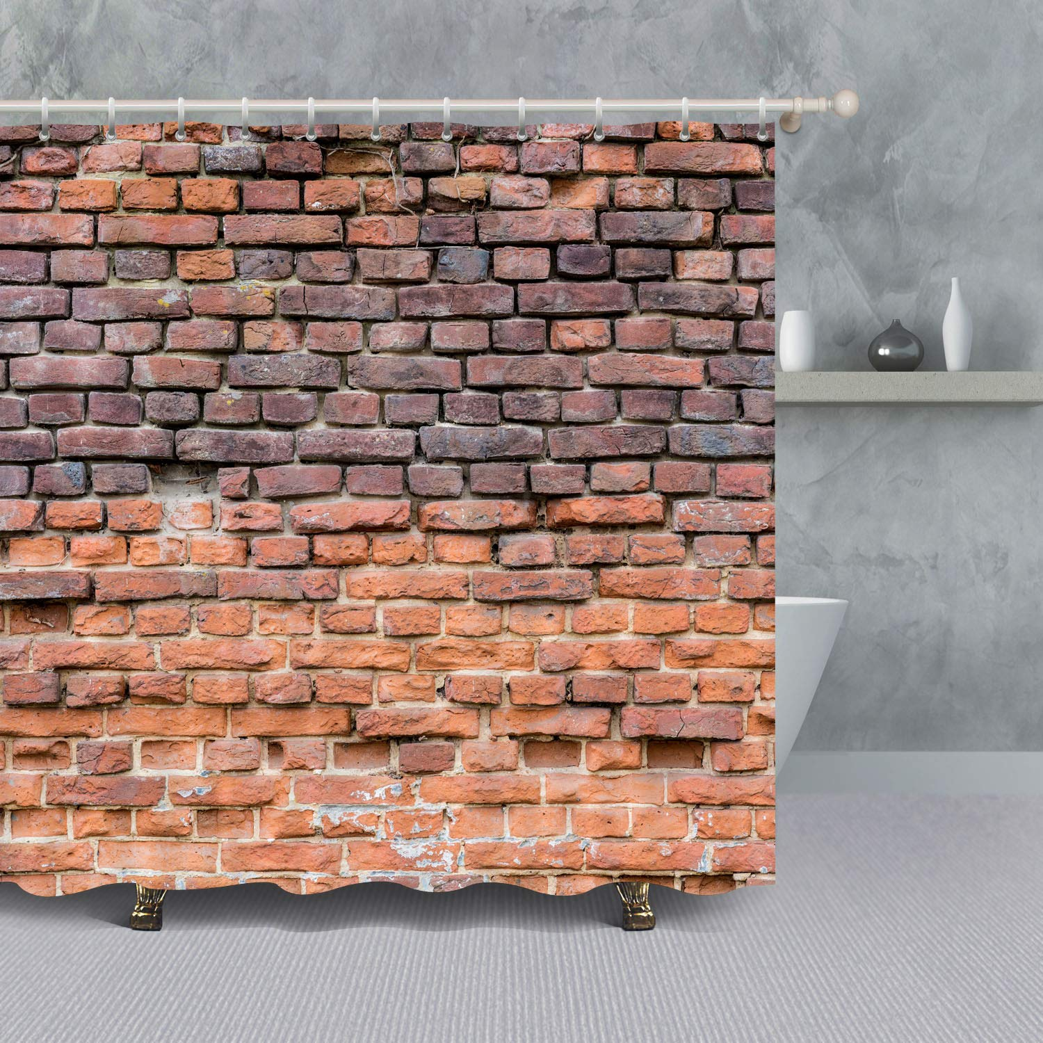 Brick Wall Shower CurtainVintage Marble Stone WallWaterproof Polyester Fabric Bath