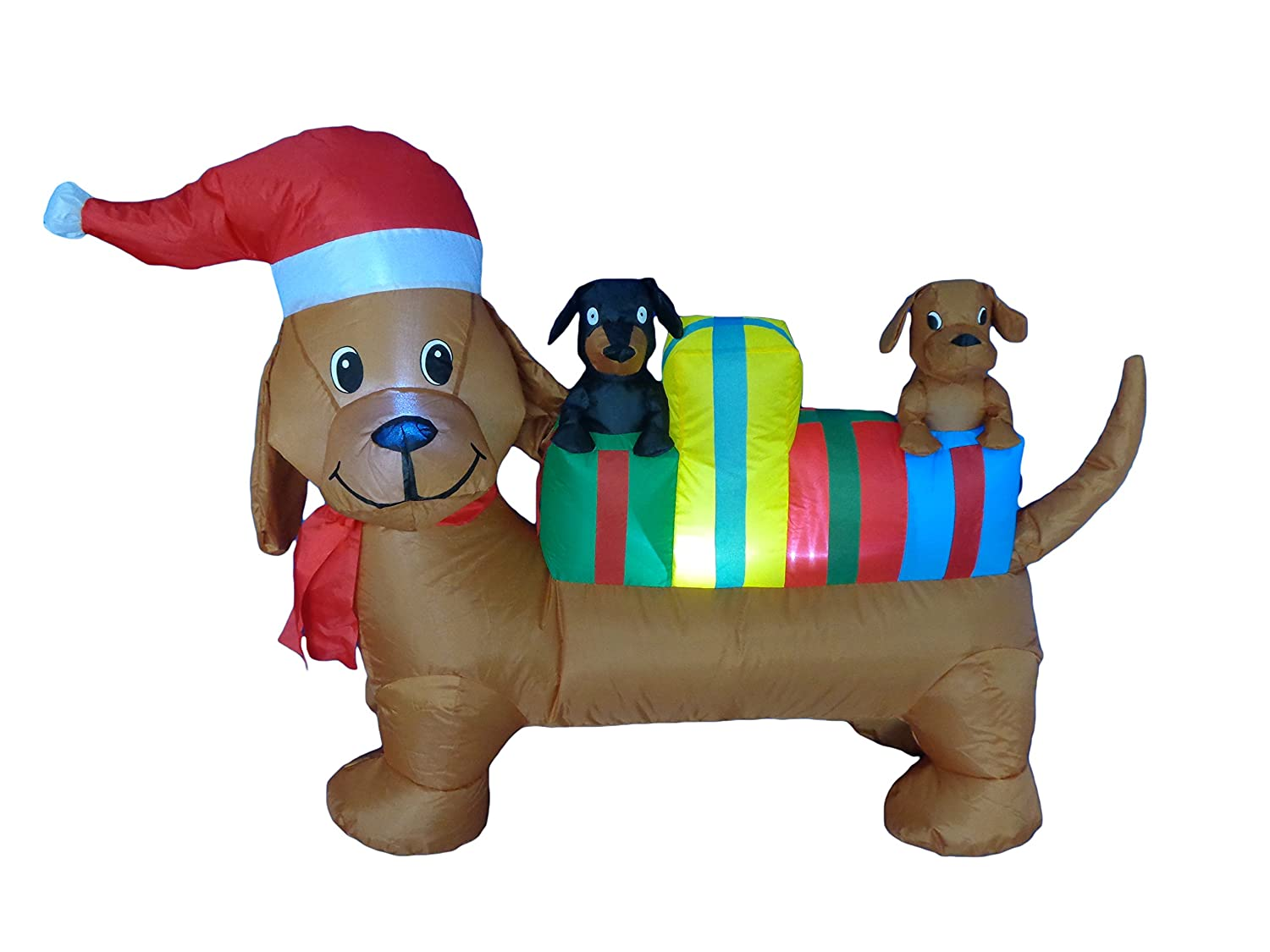 Amazon.com: 4 Foot Long Lighted Christmas Inflatable Three Dogs ...
