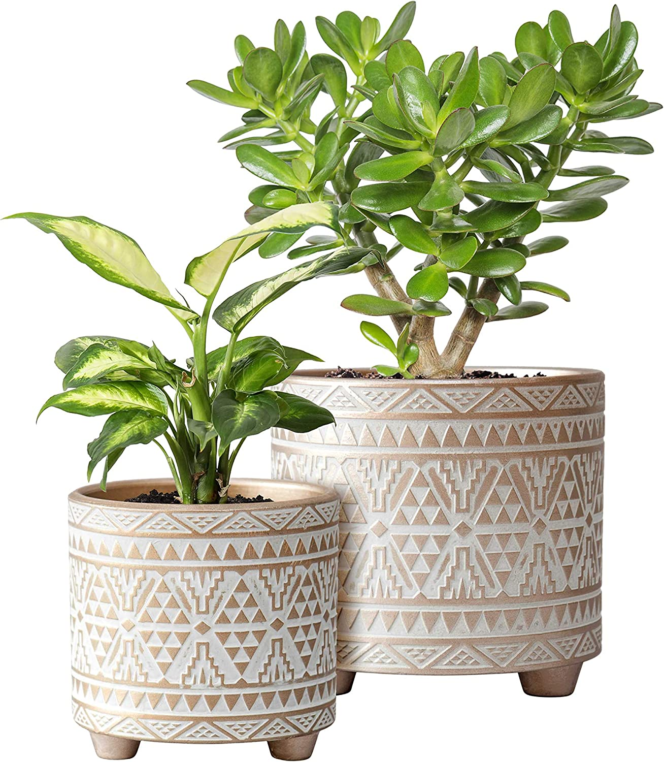 Set of 2 Planter Pots, 4 Inch & 6 Inch, Totem Design Ceramic Plants Pot with Drainage Hole, Gold/White