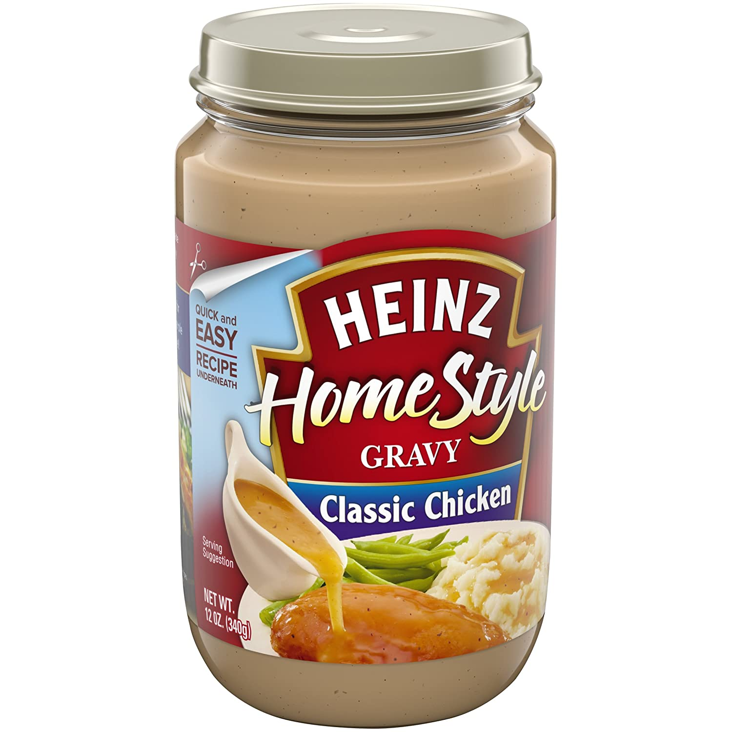 Heinz Homestyle Classic Chicken Gravy (12 oz Jars, Pack of 12)