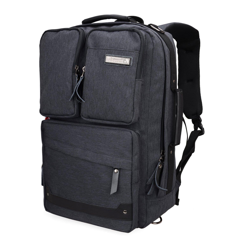 Witzman Men Retro Canvas Backpack Travel Rucksack Casual Duffel Bag 6689 (20 Inch, Black)