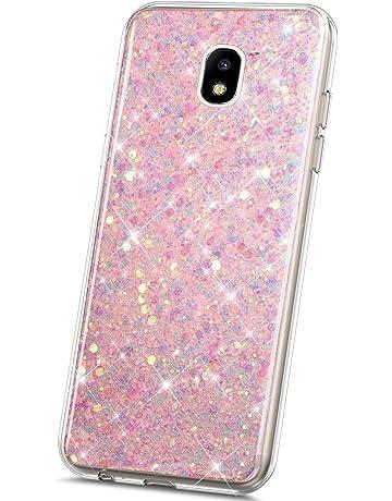 JAWSEU Funda Brillante Compatible con Samsung Galaxy J7 2018 Bling Glitter Liquida Cristal Clear Suave TPU