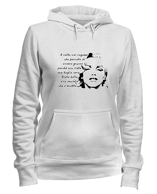 Sudadera con Capucha para Las Mujeras Blanca T0572 Marilyn Monroe Frase Fun Cool Geek: Amazon.es: Ropa y accesorios