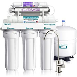 APEC Water Systems ROES-PHUV75 Essence Series Top Tier Alkaline Mineral and Ultra-Violet UV Sterilizer 75 GPD 7-Stage Ultra Safe Reverse Osmosis Drinking Water Filter System