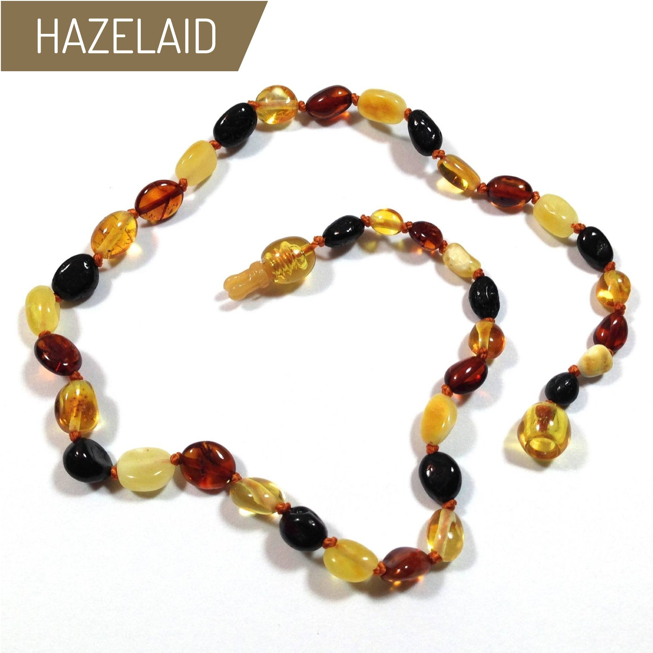 Hazelaid (TM) 14'' Pop-Clasp Baltic Amber Multicolored Bean Necklace
