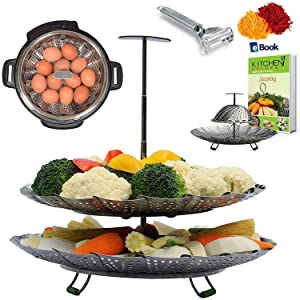 Kitchen Deluxe 2-TIER Vegetable Steamer Basket - Extendable Handle - Fits Instant Pot - Accessories Include Peeler + eBook - 100% Stainless Steel - For Instapot Pressure Cooker 6 Quart & 8 Qt